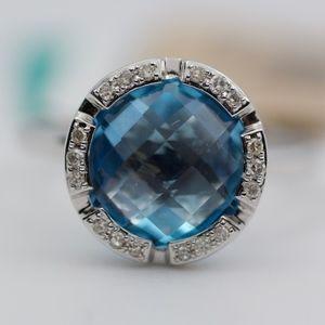 EFFY 14k White Gold Blue Topaz And Diamond Ring